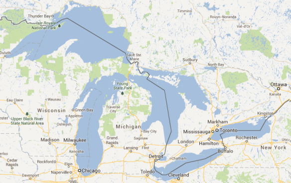 The Great Lakes Basin (Map data ©2013 Google)