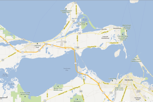 "Catawba Island, ""The Un-Island"" Map data ©2013 Google"