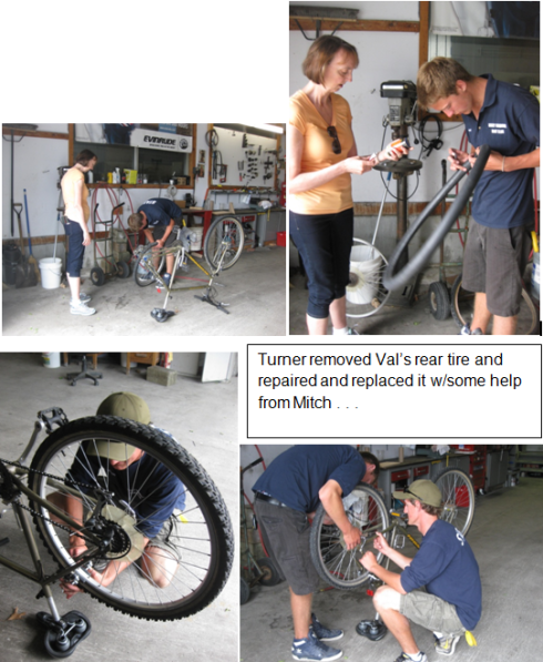 Photo montage of bike repair