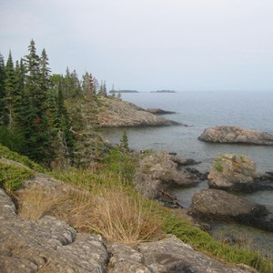 A piece of the over 150-mile Lake Superior rocky shoreline of Isle Royale's boreal forest from the Albert Stoll, Jr. Memorial Trail near Scoville Point